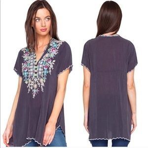 Johnny Was Livana Embroidered Scalloped Tunic